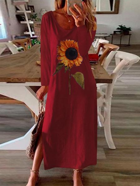 Yoins Sunflower Print Slit Hem Long sleeves Maxi Dress