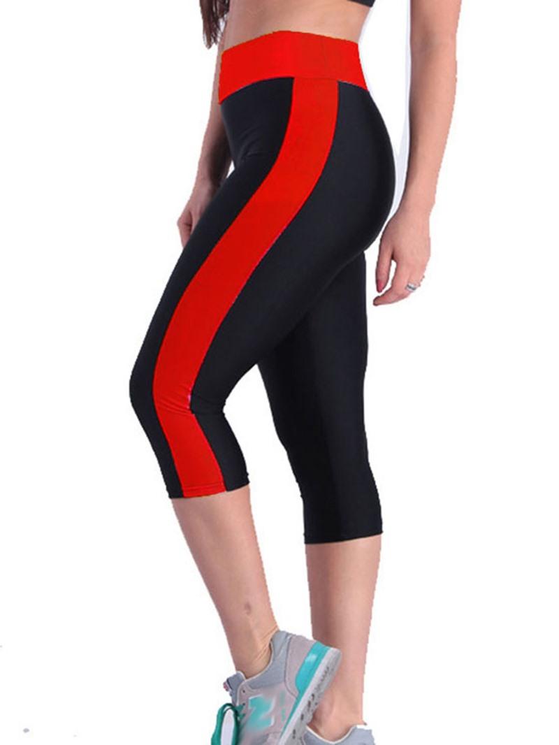 Ericdress Color Block Breathable Mid-Calf Sports Gym Short Leggings