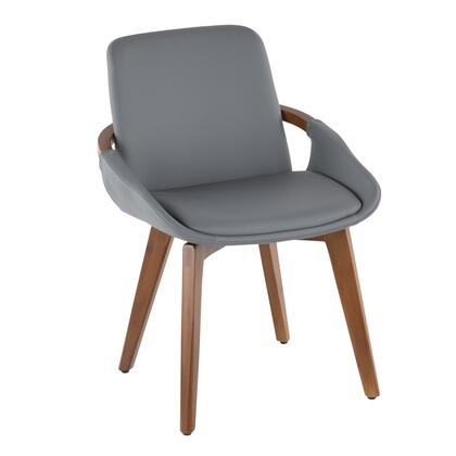 Cosmo Collection CH-COSMOWL+GY Chair with Curved Bentwood Construction  Mid-Century Modern Style  Faux Leather Upholstery  Walnut Wood Armrest and