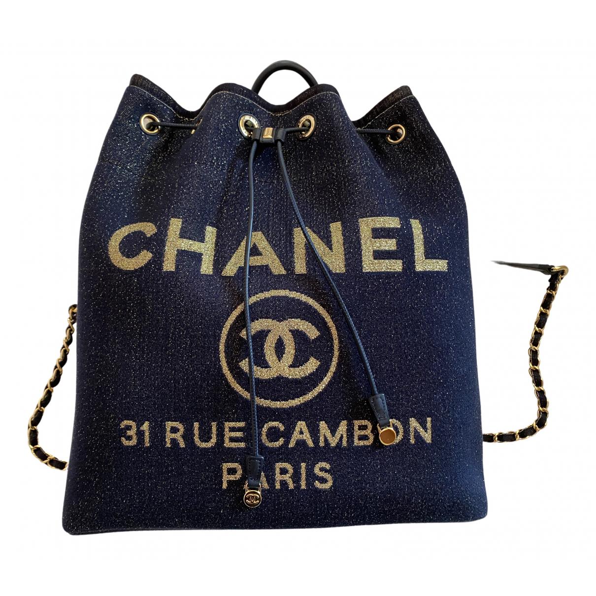 Chanel Deauville Rucksaecke in  Blau Leinen