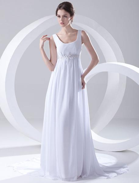 Milanoo White Empire Waist Applique Beading Chiffon Bridal Wedding Dress