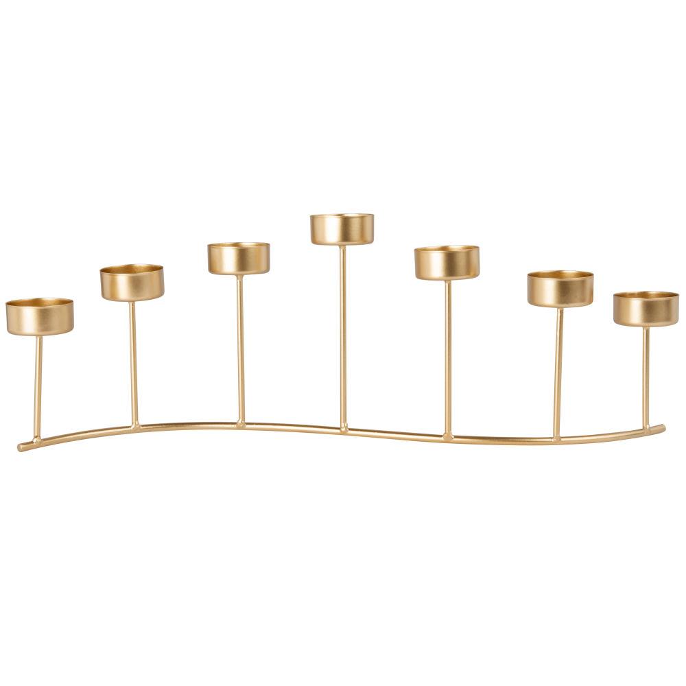 Kerzenhalter mit 7 Windlichtern aus Metall, goldfarben