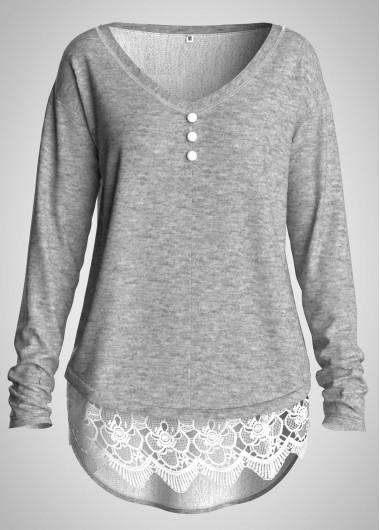 Plus Size Lace Panel Button Detail T Shirt - 3X