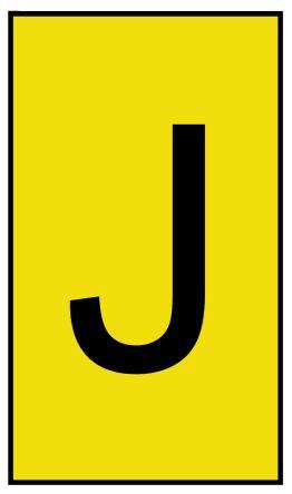 HellermannTyton Ovalgrip Slide On Cable Marker, Pre-printed J Black on Yellow 1.7 → 3.6mm Dia. Range