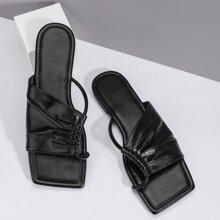 Sandalias de punta abierta con fruncido