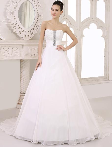Milanoo Vestido de novia de chifon de color marfil con escote de corazon de cola larga