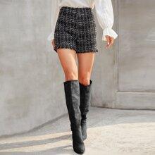 Shorts tweed bajo crudo de cuadros