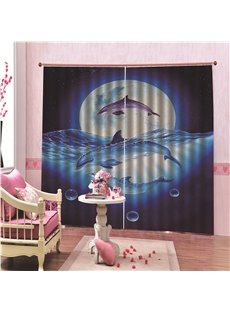 3D Animal Print 100% Blackout Thick Polyester Curtains with Dreamlike Dolphin in the Moon Night