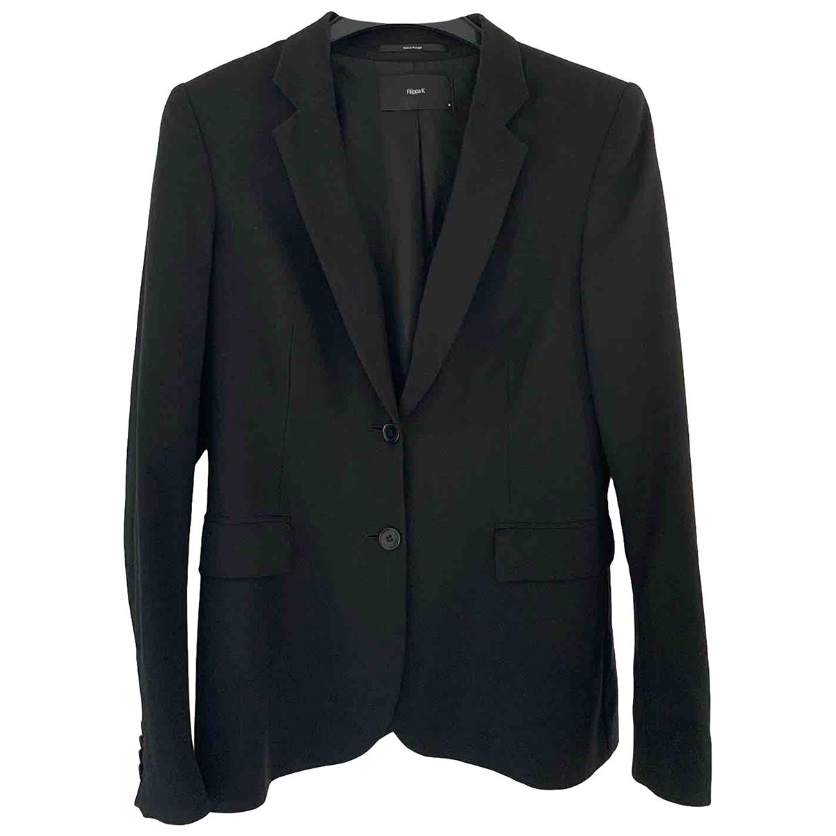 Filippa K \N Jacke in  Schwarz Wolle