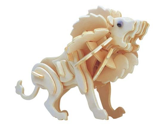 G-M028A Mini Lion Model 3D DIY Wooden Animal Puzzles Safe Friendly-environmental Simulation Intelligence Toys For Kids