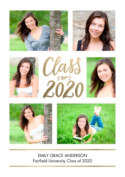 2020 Graduation Announcements Flat Glossy Photo Paper Cards with Envelopes, 5x7, Card & Stationery -Grad 2020 Memories by Tumbalina