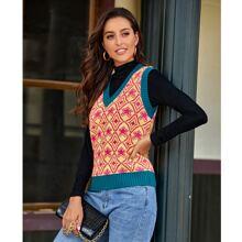 Pulloverweste mit Argyle, Stern Muster und Kontrast Bindung
