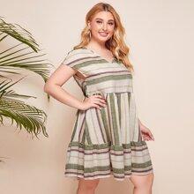Plus Ruffle Hem Striped Dress