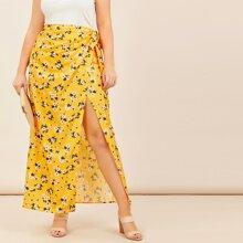 Falda maxi con cordon lateral cruzado con estampado floral