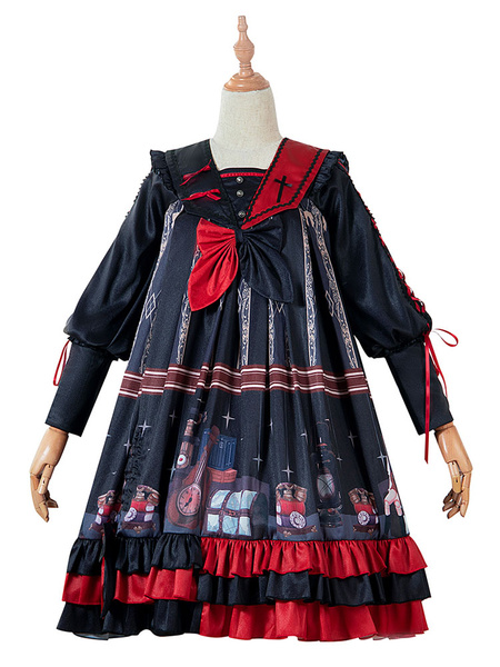 Milanoo Gothic Lolita OP Dress Marionette Lace Up Black Long Sleeves Lolita One Piece Dresses