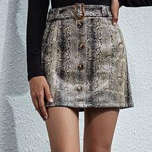 Snakeskin Print Button Front Belted PU Skirt