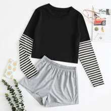 Striped Sleeve Tee & Shorts PJ Set