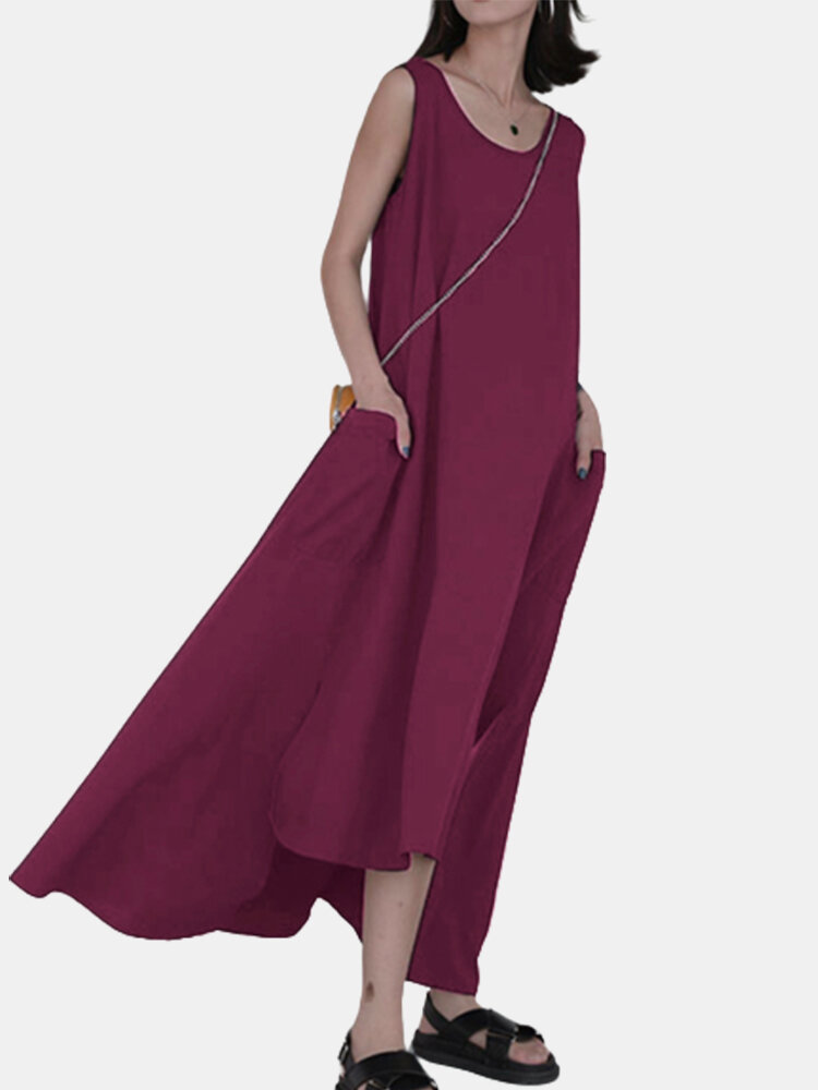 Split Asymmetrical Sleeveless Solid Color Plus Size Dress