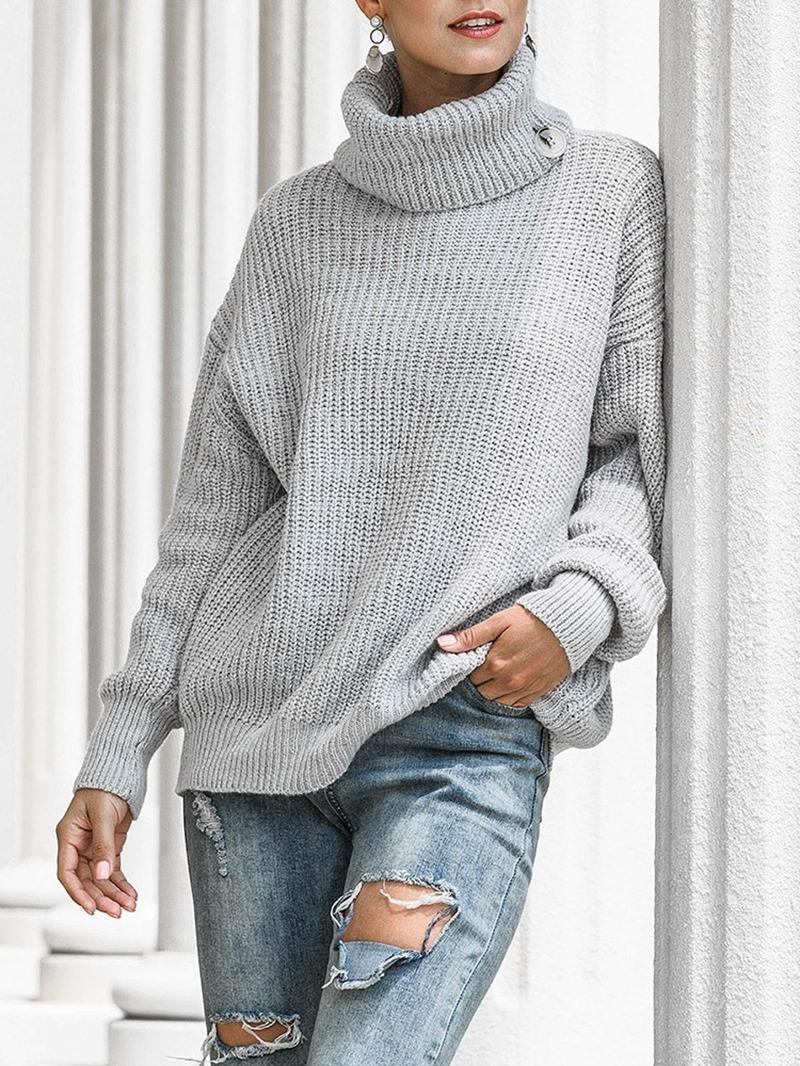 Ericdress Thick Regular Loose Turtleneck Women's Sweater