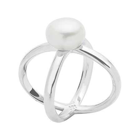 Cultured Freshwater Pearl Criss-Cross Sterling Silver Ring, 7 , No Color Family
