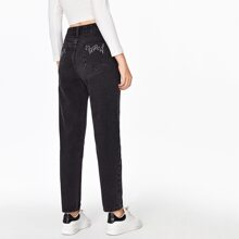 High Waist Fire Print Pocket Mom Jeans