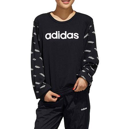 adidas Womens Crew Neck Long Sleeve Sweatshirt, Large , Black
