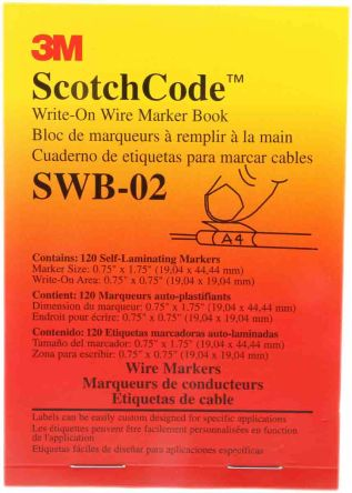 3M Adhesive Write On Cable Marker 6  8mm Dia. Range