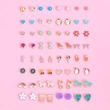 32 pares pendientes de tachuela de niñas en forma de flor