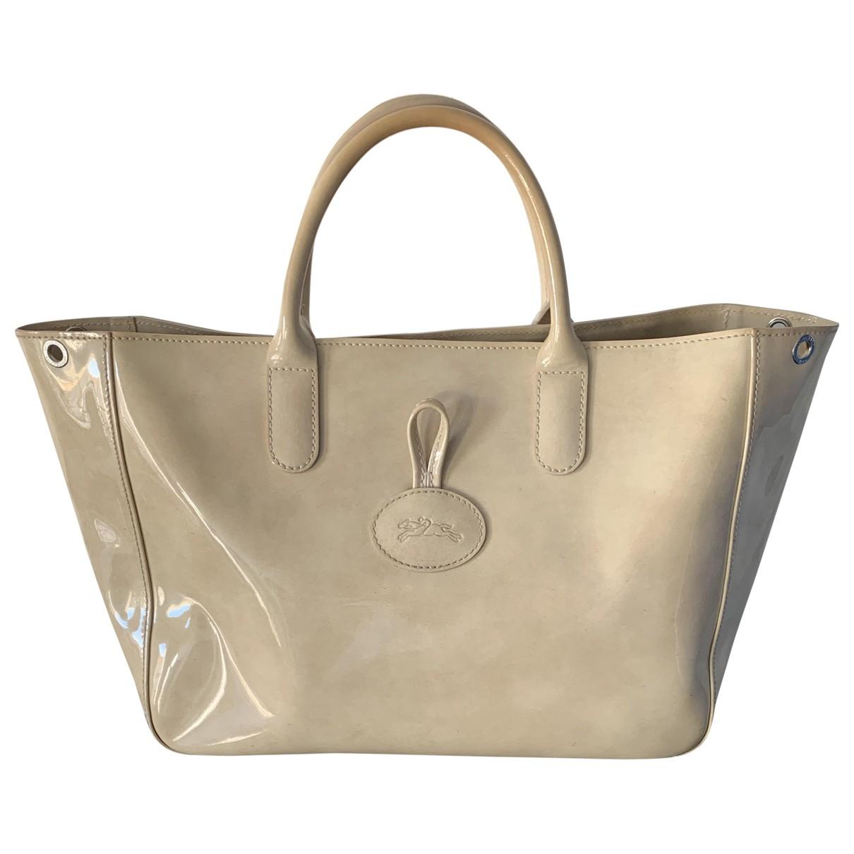 Longchamp - Sac a main   pour femme en cuir verni - beige