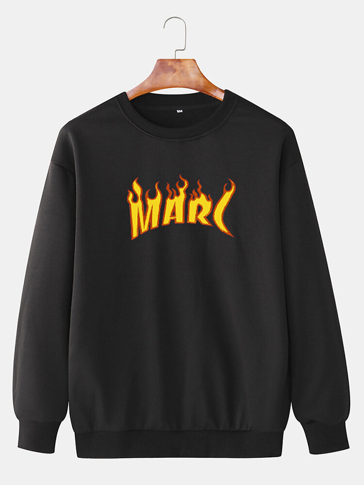 Mens Letter Flame Printed Cotton Drop Sleeve Casual Crew Neck Sweatshirts