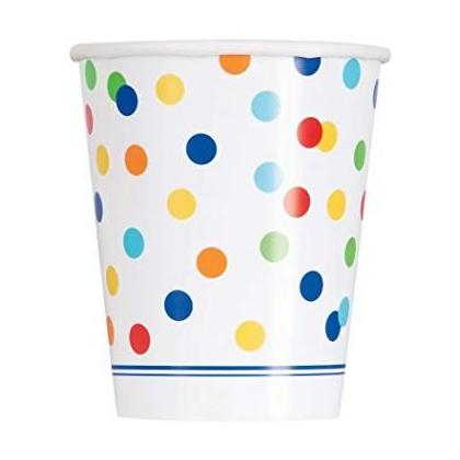 9oz Rainbow Mini Polka Dot Party Cups, 8ct For Birthday Party