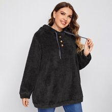 Plus Button Front Drawstring Teddy Hoodie