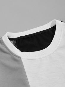 Men Color Block Sweatshirt & Contrast Panel Side Sweatpants