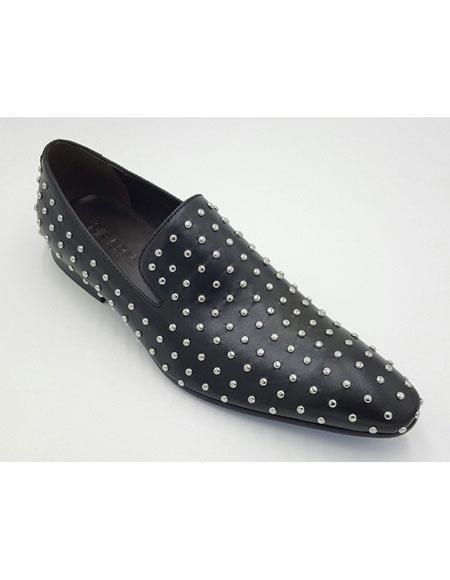 Mens Genuine Suede Leather Studs Design Slip-On Black Loafer Shoes