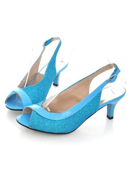 Milanoo Glitter Tacones Altos Kitten Heel Pumps Mujeres Peep Toe Slingbacks Bombas Para Mujeres