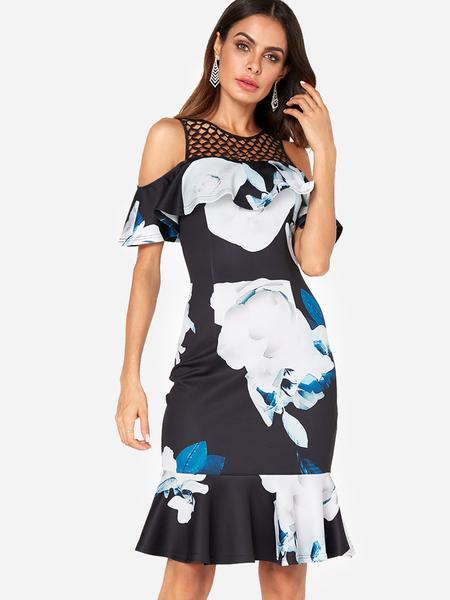 Yoins Navy Random Floral Print Cold Shoulder Ruffle Sleeves Flounced Hem Dress