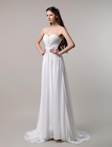 Milanoo Ivory Chiffon Applique Beading Wedding Dress