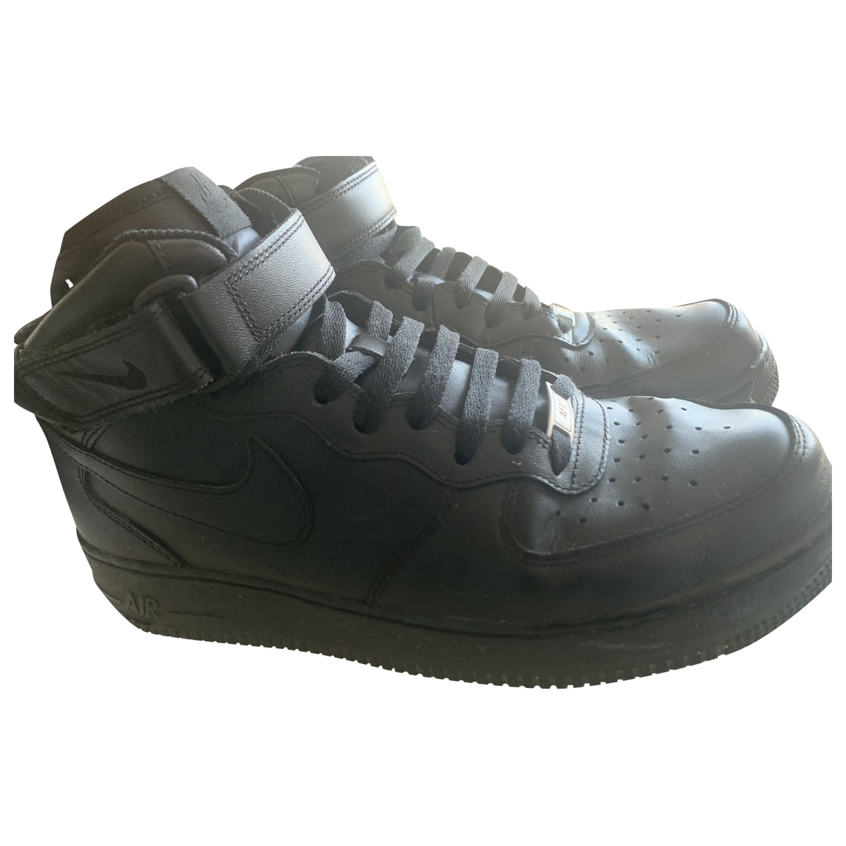 Nike Air Force 1 Black Leather Trainers for Men 44 EU