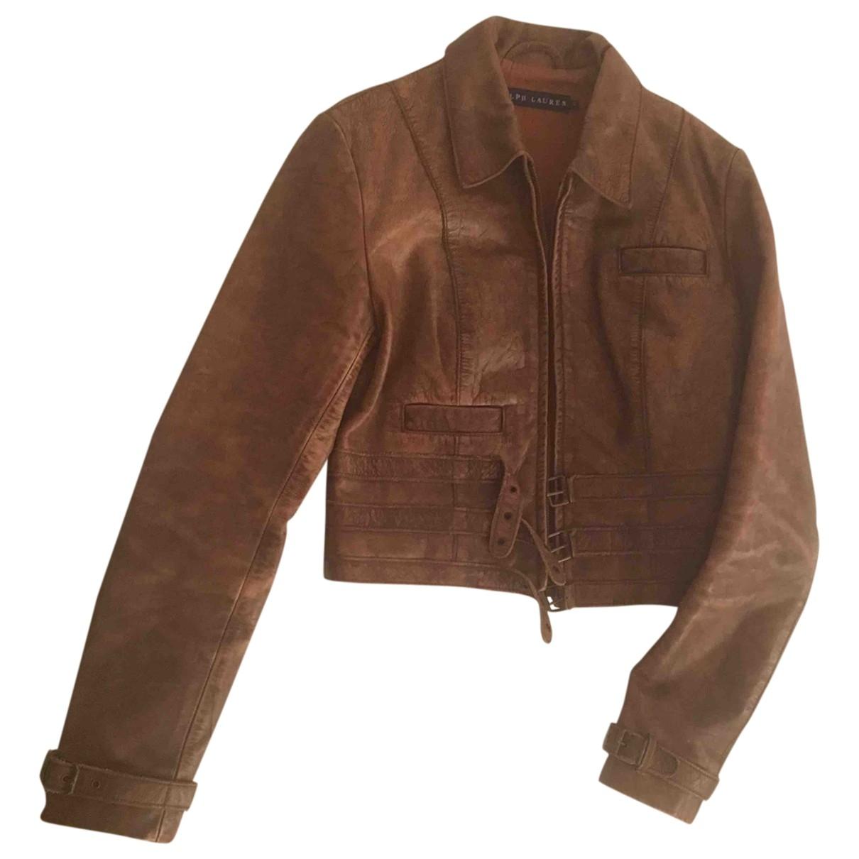 Ralph Lauren - Blouson   pour femme en cuir - marron