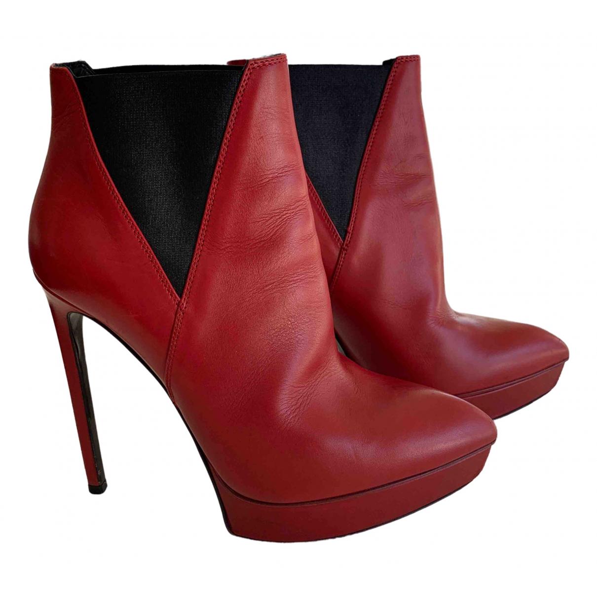 Saint Laurent \N Stiefeletten in  Rot Leder