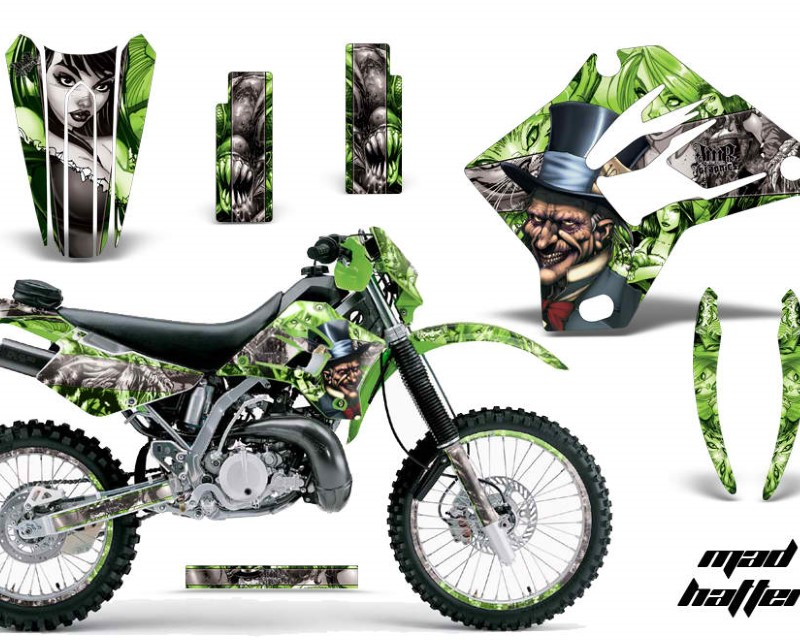 AMR Racing Graphics MX-NP-KAW-KDX200-95-06-HAT S G Kit Decal Sticker Wrap + # Plates For Kawasaki KDX200 1995-2006 HATTER SILVER GREEN