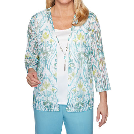 Alfred Dunner Chesapeake Bay Womens Scoop Neck 3/4 Sleeve Layered Top, Petite Small , Blue