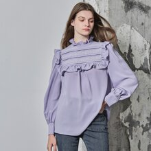 PUFF SLEEVE RUFFLE & LACE TRIM TOP