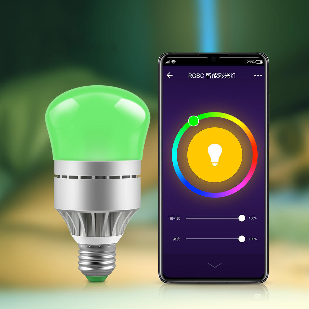 AC100-264V E27 9W RGBW RGBCW WIFI Smart LED Light Bulb Work With Voice Control for Home Living Room Table Lamp