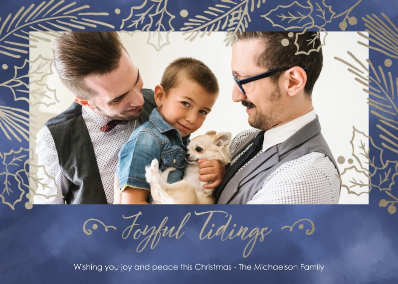 Christmas Photo Cards 5x7 Cards, Premium Cardstock 120lb with Scalloped Corners, Card & Stationery -Joyfull Tidings