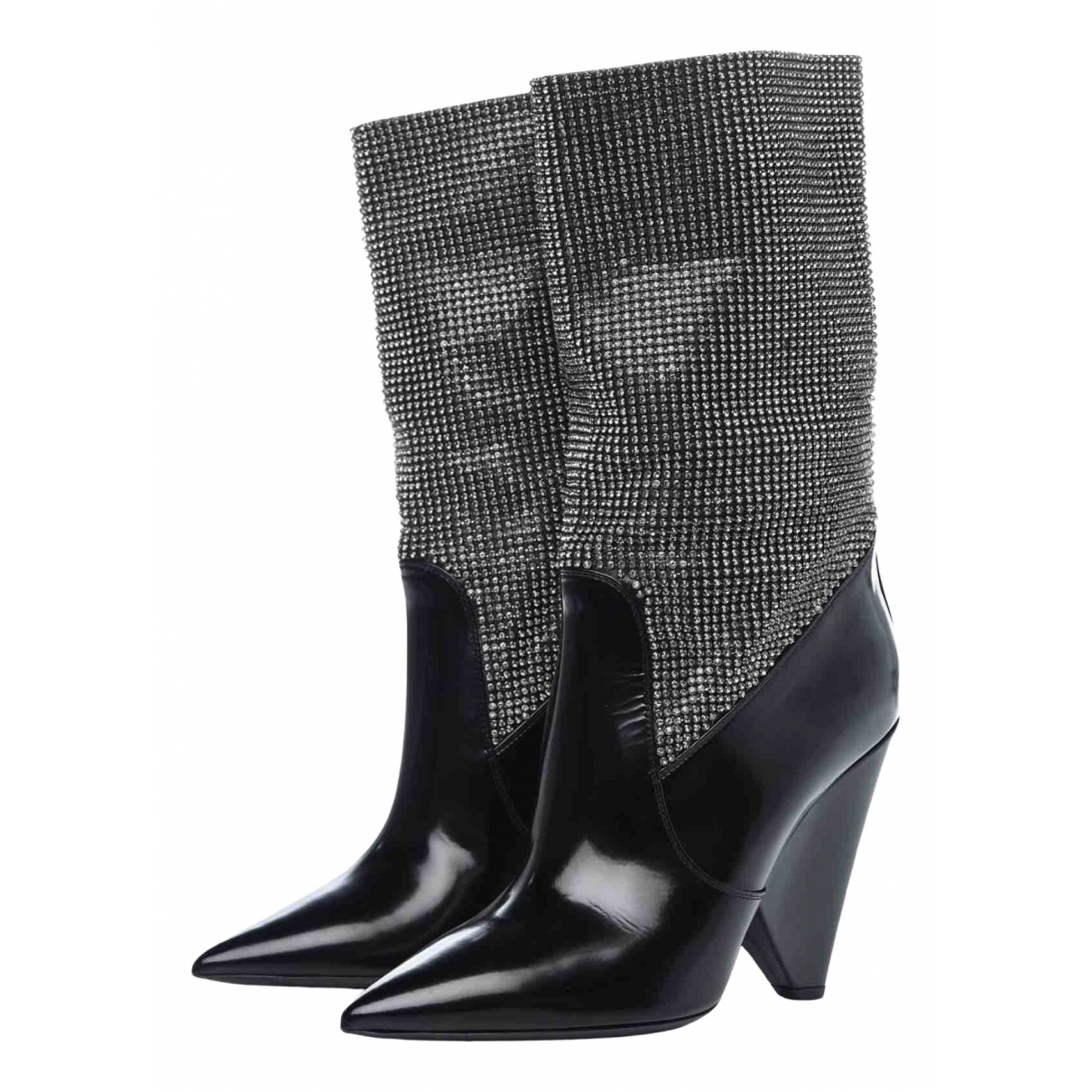 Saint Laurent Niki Stiefel in  Schwarz Leder