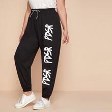 Plus Letter Graphic Tie Waist Sweatpants