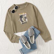 Sweatshirt mit Schlange und Buchstaben Grafik