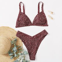 Ditsy Floral Triangle High Cut Bikini Swimsuit