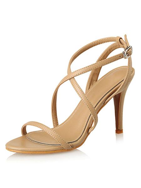 Milanoo High Heel Sandals Womens Criss Cross Open Toe Slingback Stiletto Heel Sandals